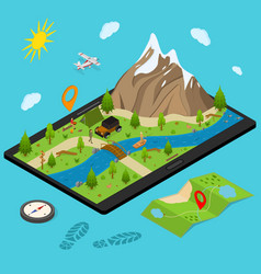 hiking in a park concept 3d isometric view vector image