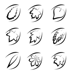 Icons black leaves vector image