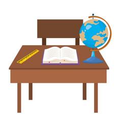 Isolated teacher desk school design vector