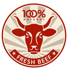 Label with head a cow vector