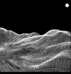 Landscape background terrain 3d cyberspace grid vector
