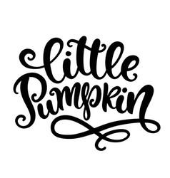 little pumpkin handwritten ink lettering vector image