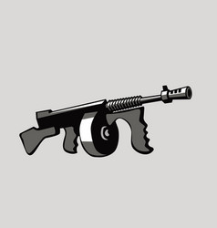 mafia weapons cartoon image tommy gun vector image