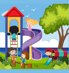 many children having fun in the playground vector image
