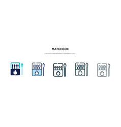 Matchbox icon in different style two colored and vector