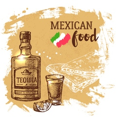 Mexican traditional food background Hand drawn vector image