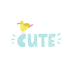 mischievous lettering text cute with funny seagull vector image