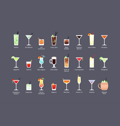 Most popular alcoholic cocktails part 1 icons set vector