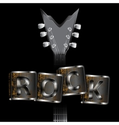 neck of the guitar words rock uno vector image