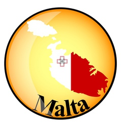 Orange button with the image maps of Malta vector