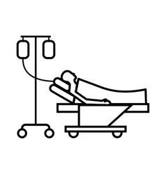 Patient in bed on a drip icon outline style vector
