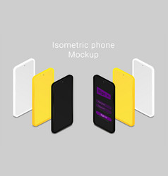 phone mockups isometric minimalist style vector image