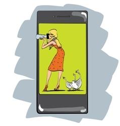 Photo app for smartphone girl photographs vector