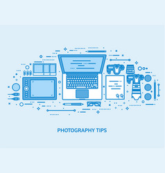 Photography tools photo editing and photoshooting vector