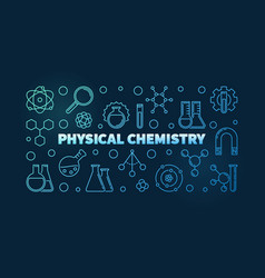 physical chemistry blue horizontal outline vector image