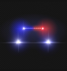 police car headlights and blinking red siren vector image