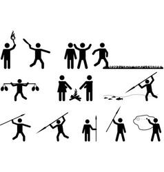 Primitive pictogram people vector