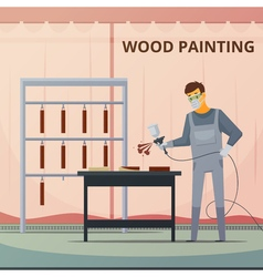 Professional Woodwork Painting Flat Poster vector