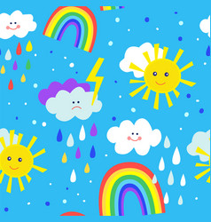 rainbow and sun funny seamless pattern for kids vector image