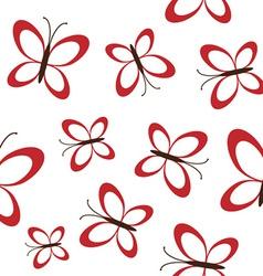 Red butterflies seamless vector