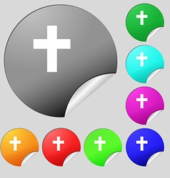 religious cross Christian icon sign Set of eight vector image
