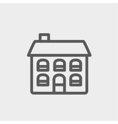 Retro flat house thin line icon vector