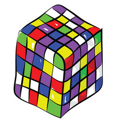 rubiks cube a color combination puzzle enjoyed by vector image