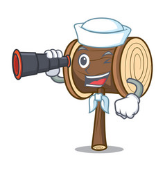 Sailor with binocular mallet mascot cartoon style vector