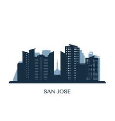 san jose skyline monochrome silhouette vector image