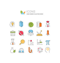 Set line icons science vector