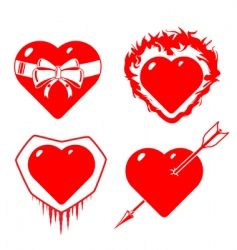 set of different stylized hearts vector image