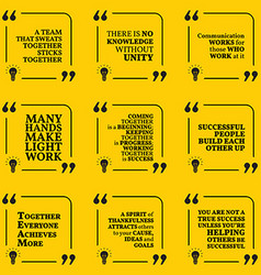 Set of motivational quotes about team unity vector