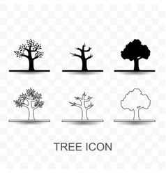 set of tree icon simple flat style vector image