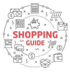 Shopping guide linear vector