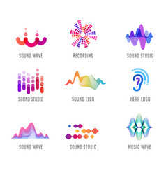 sound wave music production logo and symbol vector image