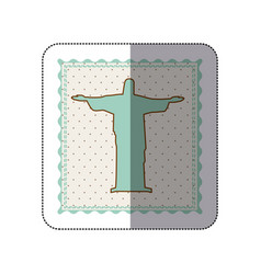 sticker frame with silhouette of christ redeemer vector image
