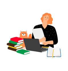 Student with cat and books vector