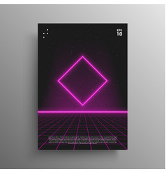 synthwave poster glowing rhombus shape with laser vector image