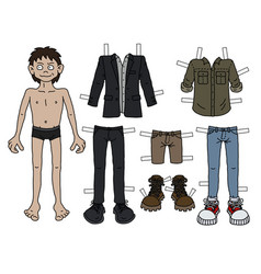The paper doll boy vector