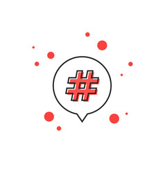 Thin line hashtag icon in outline bubble vector