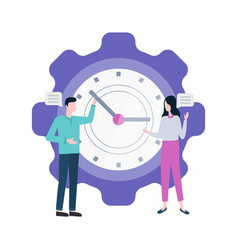 time management people with big clock isolated vector image