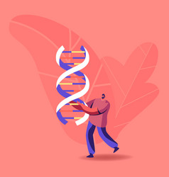Tiny male character carry huge dna spiral doctor vector