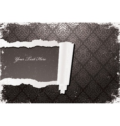 torn damask wallpaper with grunge vector image