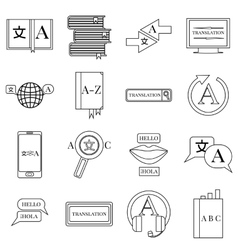 Translator profession icons set outline style vector