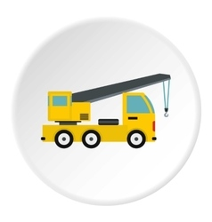 Truck with crane icon flat style vector