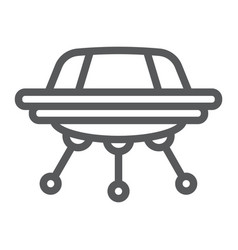 ufo line icon space and spacecraft spaceship vector image