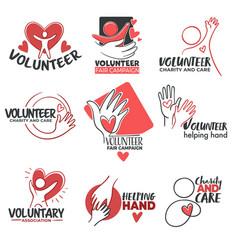 Volunteer signs and volunteering community icons vector