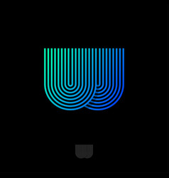 web logo w monogram thin strips linear icon vector image