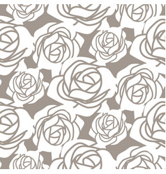 White bold roses stencil seamless pattern vector