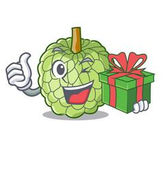 With gift fresh custard apple sweet fruit cartoon vector